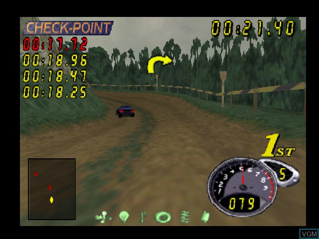 In-game screen of the game Top Gear Rally 2 on Nintendo 64