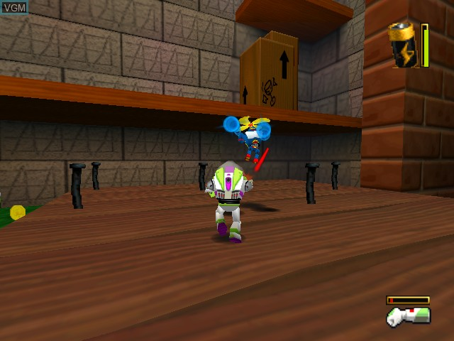 In-game screen of the game Toy Story 2 - Buzz Lightyear to the Rescue! on Nintendo 64