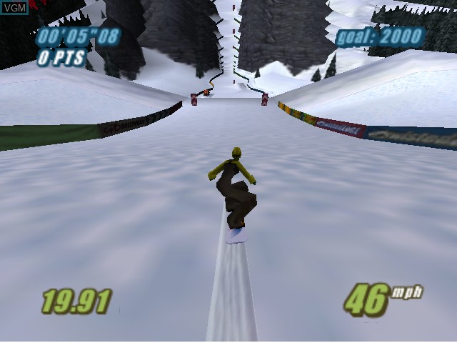 In-game screen of the game Twisted Edge Extreme Snowboarding on Nintendo 64