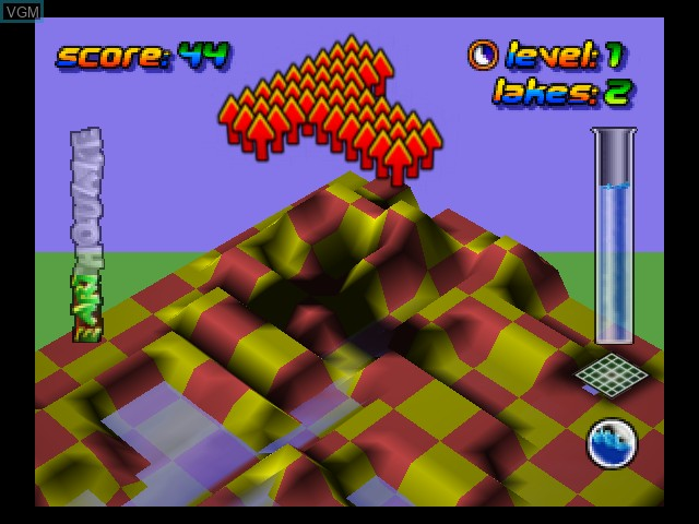 In-game screen of the game Wetrix on Nintendo 64