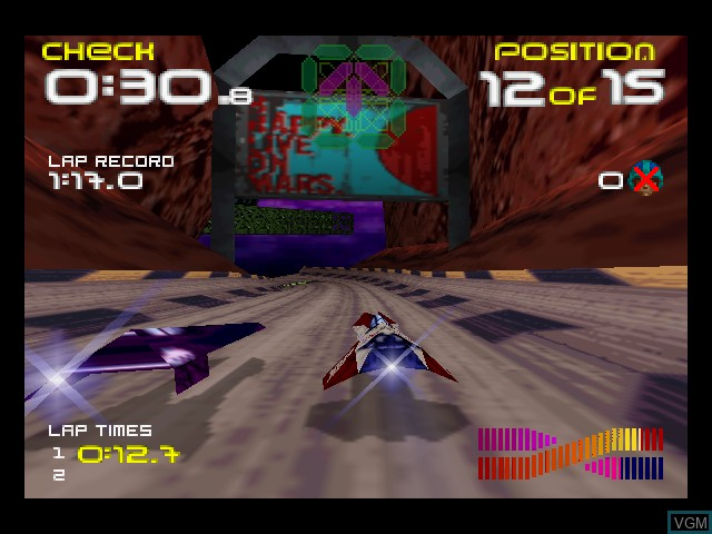 In-game screen of the game Wipeout 64 on Nintendo 64