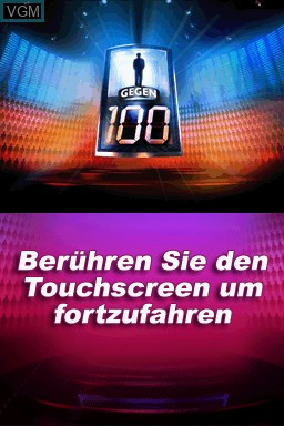 Title screen of the game 1 gegen 100 on Nintendo DS