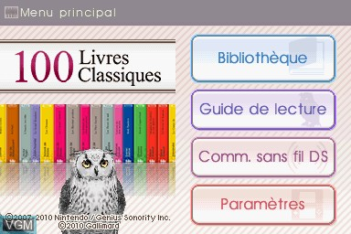 Title screen of the game 100 Livres Classiques on Nintendo DS