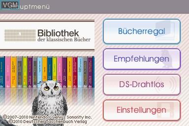 Title screen of the game Bibliothek der Klassischen Buecher on Nintendo DS