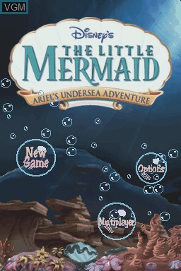 Title screen of the game Little Mermaid, The - Ariel's Undersea Adventure on Nintendo DS