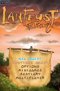 Title screen of the game Lanfeust of Troy on Nintendo DS