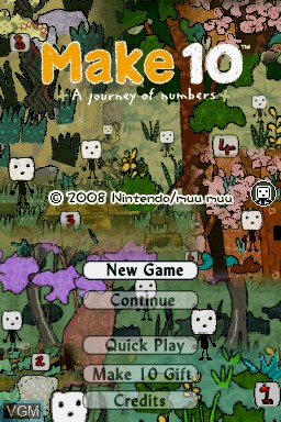 Title screen of the game Make 10 - A Journey of Numbers on Nintendo DS