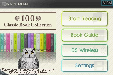 Title screen of the game 100 Classic Book Collection on Nintendo DS
