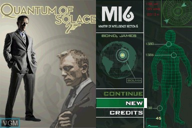 Title screen of the game 007 - Quantum of Solace on Nintendo DS