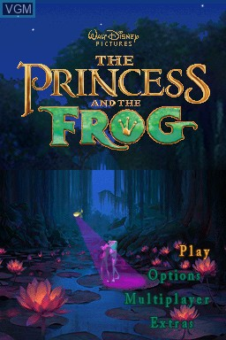 Title screen of the game Princess and the Frog, The on Nintendo DS