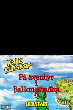 Title screen of the game Kalle Kunskap - Lek & Lär - 4-7 år on Nintendo DS