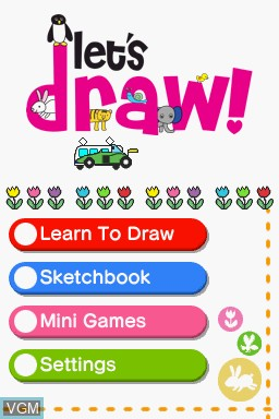 Title screen of the game Let's Draw! on Nintendo DS