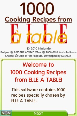 Title screen of the game 1000 Cooking Recipes from Elle a Table on Nintendo DS