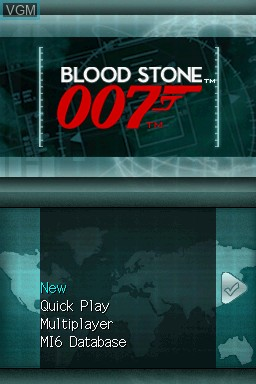 Title screen of the game 007 - Blood Stone on Nintendo DS