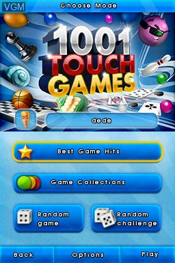 Title screen of the game 1001 Touch Games on Nintendo DS