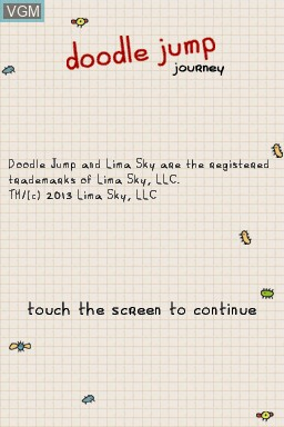 Title screen of the game Doodle Jump Journey on Nintendo DS