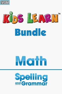 Title screen of the game Kids Learn - Math and Spelling Bundle on Nintendo DS