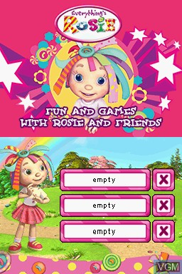 Title screen of the game Everything's Rosie on Nintendo DS