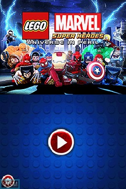 Title screen of the game LEGO Marvel Super Heroes - Universe in Peril on Nintendo DS