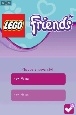 Title screen of the game LEGO Friends on Nintendo DS