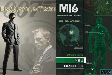 Title screen of the game 007 - Ein Quantum Trost on Nintendo DS