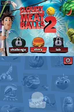 Title screen of the game Cloudy with a Chance of Meatballs 2 on Nintendo DS