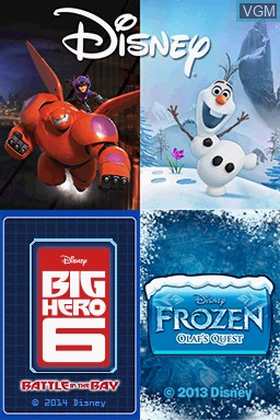 Title screen of the game Disney Two Pack - Frozen Olaf's Quest + Big Hero 6 - Battle in the Bay on Nintendo DS