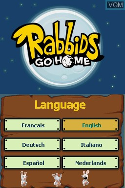 Title screen of the game Rabbids Go Home on Nintendo DS