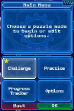 Menu screen of the game Puzzler Brain Games on Nintendo DS