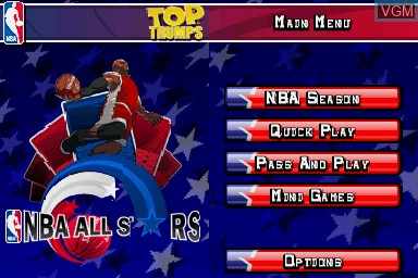 Menu screen of the game Top Trumps - NBA All Stars on Nintendo DS