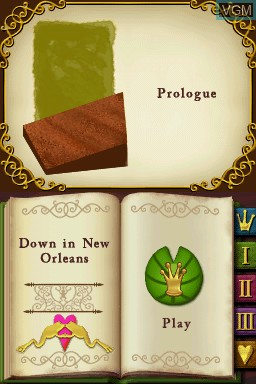 Menu screen of the game Princess and the Frog, The on Nintendo DS