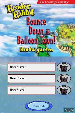 Menu screen of the game Reader Rabbit - Kindergarten on Nintendo DS