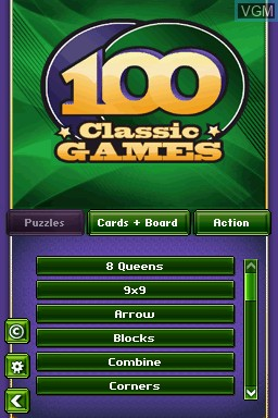 Menu screen of the game 100 Classic Games on Nintendo DS