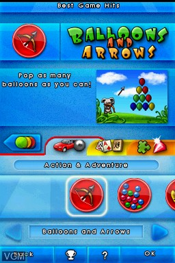 Menu screen of the game 1001 Touch Games on Nintendo DS