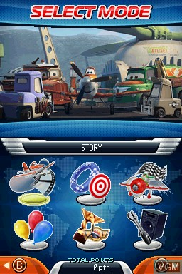 Menu screen of the game Disney Planes on Nintendo DS