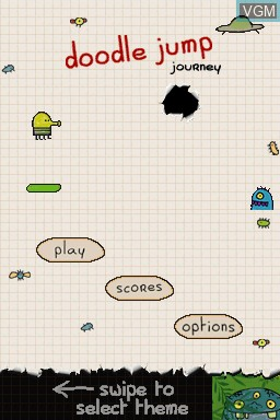 Menu screen of the game Doodle Jump Journey on Nintendo DS