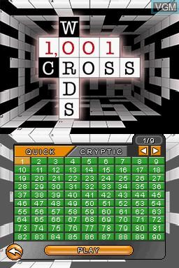 Menu screen of the game 1001 Crosswords on Nintendo DS