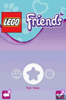 Menu screen of the game LEGO Friends on Nintendo DS