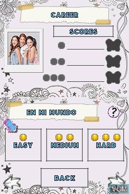 Menu screen of the game Disney Violetta - Rhythm & Music on Nintendo DS
