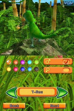 Menu screen of the game Dino Pets - The Virtual Pet Game on Nintendo DS