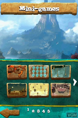Menu screen of the game Croods, The - Prehistoric Party! on Nintendo DS