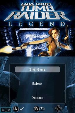 Menu screen of the game Lara Croft Tomb Raider - Legend on Nintendo DS