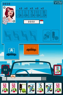 In-game screen of the game 1000 Bornes - Coups-Fourres et Courses Folles! on Nintendo DS