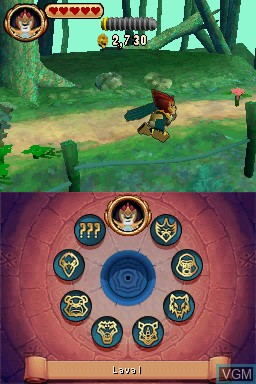 In-game screen of the game LEGO Legends of Chima - Laval's Journey on Nintendo DS