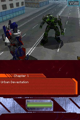 In-game screen of the game Transformers - Ultimate Autobots Edition on Nintendo DS