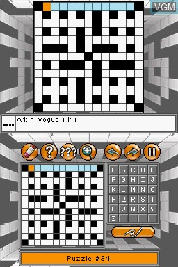 In-game screen of the game 1001 Crosswords on Nintendo DS