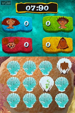 In-game screen of the game Croods, The - Prehistoric Party! on Nintendo DS