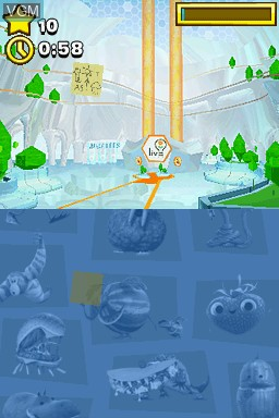 In-game screen of the game Cloudy with a Chance of Meatballs 2 on Nintendo DS