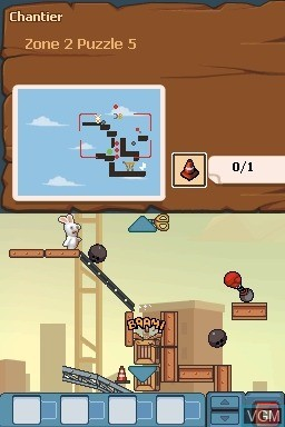 In-game screen of the game Rabbids Go Home on Nintendo DS