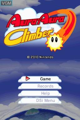 Title screen of the game Aura-Aura Climber on Nintendo DSi